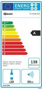 Gram VS 52083-90 B - Fritstående vinkøleskab