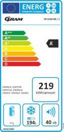 FB 3194-90/1 Fryseboks, 194 liter, A+/F 2 kurve, LED lys, Hj